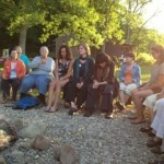Enjoying a campfire